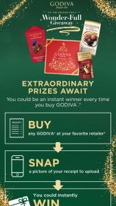 Godiva Chocolatier – Wonder Full Giveaway Instant Win Game Sweepstakes