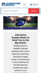 Johnstone Supply – The Big Game Sweepstakes