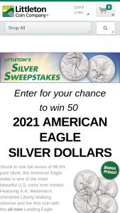 Littleton Coin – October – Win (50) 2021 $1 Silver American Eagle Coins valued at $2997.50.