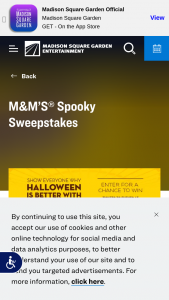Madison Square Garden Msg Sports – M&m's Spooky – Win a prize package consisting of a $3500 VISA gift card and four tickets to each of two different events taking place at Madison Square Garden between October 29-31  2021.