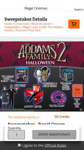 Regal Cinema – Regal Crown Club The Addams Family 2 Premium Prize Pack Sweepstakes