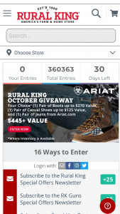 """Rural King – October 2021 Giveaway – Win pair of casual shoes up to value of $125 and one pair of jeans from Ariatcom (""""Grand Prize"""")."""