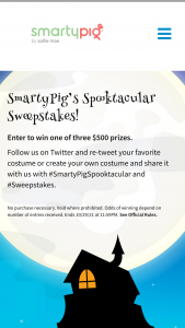 Sallie Mae Bank – Smartypig Spooktacular 2021 – Win a prize of $500.00 into their SmartyPig Account