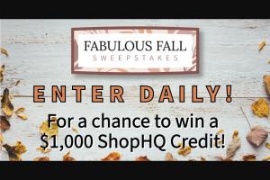 Shophq – Fabulous Fall – Win $1000 ShopHQ Credit each