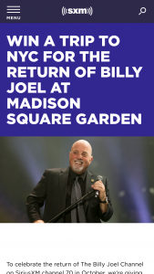 Siriusxm – Billy Joel Nyc Sweepstakes