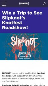Siriusxm – Slipknot Knotfest Roadshow 2021 Tour Sweepstakes