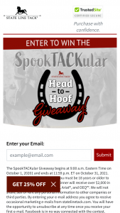 State Line Tack – Spooktackular Giveaway – Win receive over $2000 in prizes from Wintec Charles Owen Ariat and OEQ