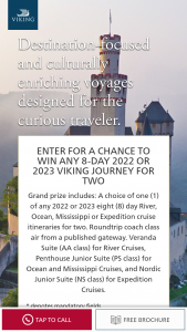 Viking Cruises – Q4 2022 Or 2023 8-day Journey Sweepstakes